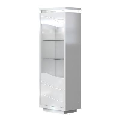 Vitrines szekrény LED világítással, fehér - SALENTO