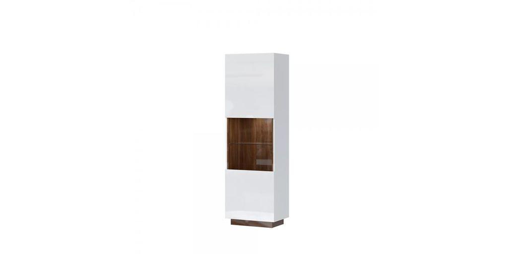 Magasfényű szekrény LED világítással, fehér - diófa - OSLO