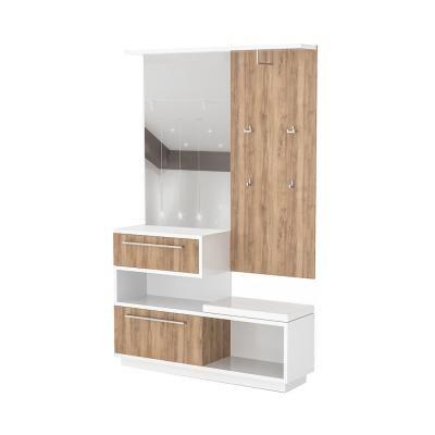Magasfényű előszobafal, tükörrel és cipősszekrénnyel, fehér - diórfa - PACIFIC