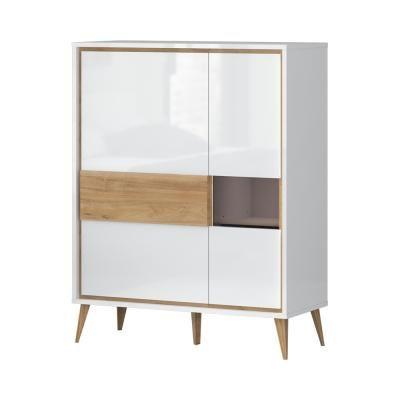 Magasfényű szekrény 2 ajtós, vitrinnel, fehér - diórfa - PACIFIC