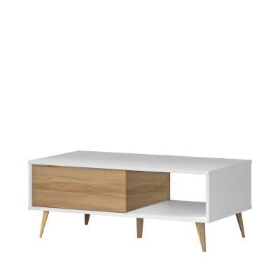 Magasfényű dohányzó asztal tárolóval, fehér-diórfa - PACIFIC