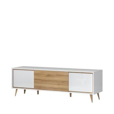 Magasfényű tv állvány, 2 ajtóval és 2 fiókkal, fehér-diórfa - PACIFIC