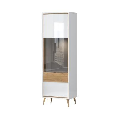 Magasfényű vitrines szekrény, 1 ajtós, fehér - diórfa - PACIFIC