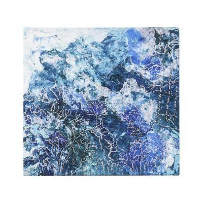 Vászon kép,50x50, absztrakt tájkép, kék - FOND MARIN