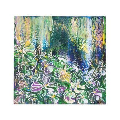 Vászon falikép, 50x50, absztrakt virágos, zöld - MAI