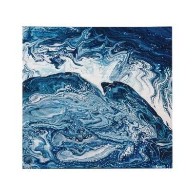 Vászon kép,50x50,absztrakt hullámok, sötétkék - NEBULEUSE