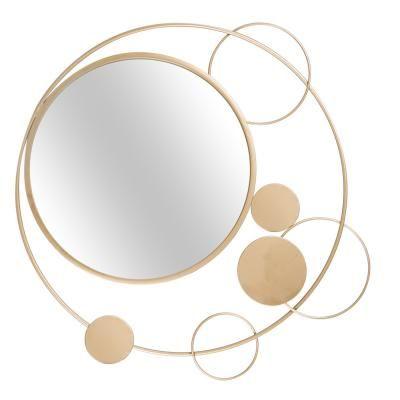 Kerek tükör, buborék hatású díszítéssel, 90 cm, arany - SATURNE