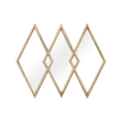 Rombusz alakú osztott fali tükör, arany - MONT BLANC