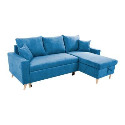 Kinyitható kanapé, megfordítható L alakkal, tengerkék - COPENHAGUE