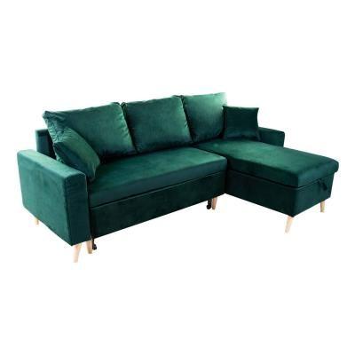 Kinyitható kanapé, megfordítható L alakkal, sötétzöld - COPENHAGUE