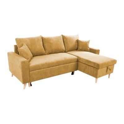 Kinyitható kanapé, megfordítható L alakkal, sárga - COPENHAGUE