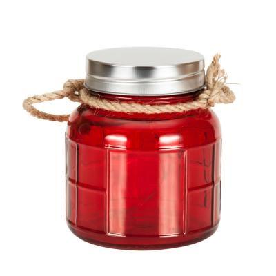 LED-es kicsi üveg dekoráció kötéllel, piros - CANDLELIGHT