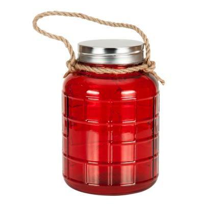 LED-es nagy üveg dekoráció kötéllel, piros - CANDLELIGHT