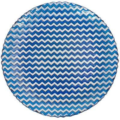 Üveg tányér, hullám mintával, 28 cm, sötétkék - CHEVRON