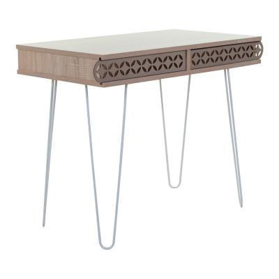 Íróasztal orientális mintával, hajlított lábakkal, 75x51 cm, tölgy - SAO PAULO