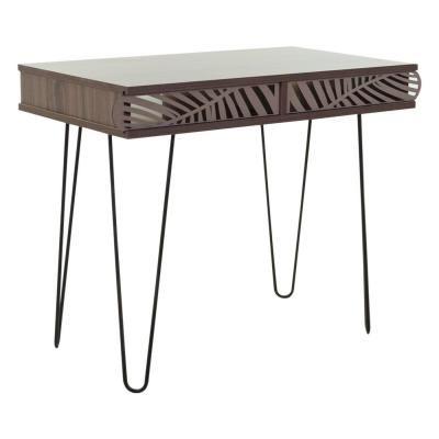 Íróasztal trópusi mintával, hajlított lábakkal, 75x51 cm, diófa - RIO