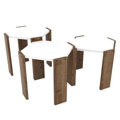 Egymásba rakható asztalka szett, 3 db, fehér-diófa - ECLAIR