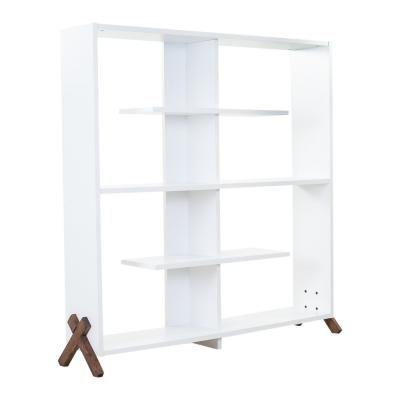 Könyvespolc, X lábbal, fehér-diófa - ECLAIR