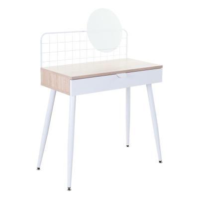 Íróasztal fém ráccsal, írható üveg táblával, tölgy - JAPANDI