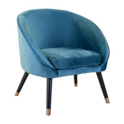 Modern bársony szövet fotel, kerekded, kék - NUAGE