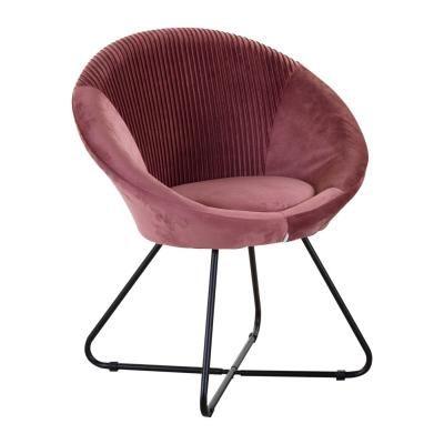 Modern kerek fotel, szegett, púderrózsaszín - OVNI