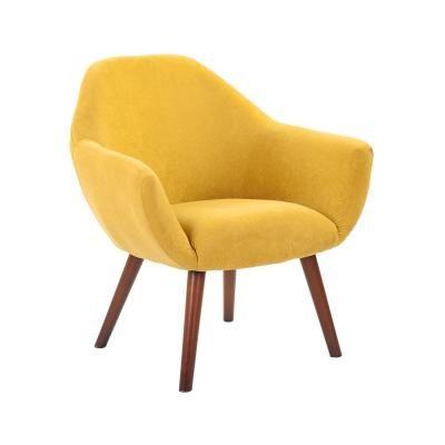 Bársonyos tapintású szövet fotel, okkersárga - HAVANE