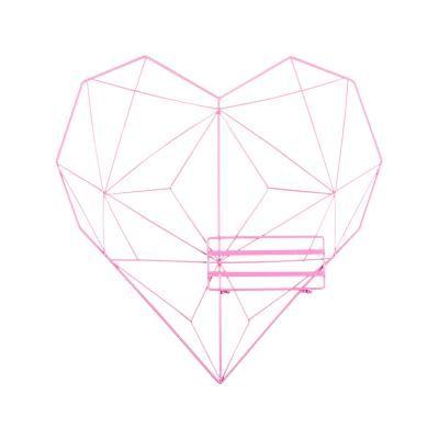 Szív alakú fali dekoráció polccal, rózsaszín - HEMATITE