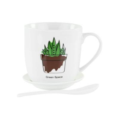 Bögre tányérral és kanállal, 1 kaktusszal - CACTUS FAMILY