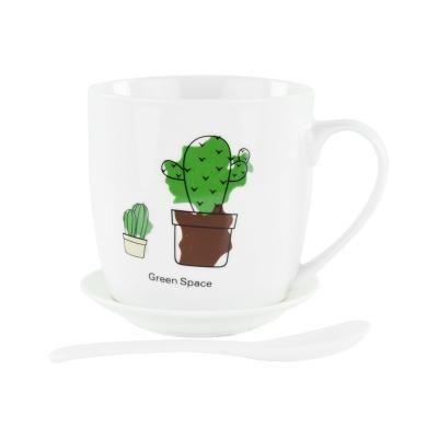 Bögre tányérral és kanállal, 2 kaktusszal - CACTUS FAMILY