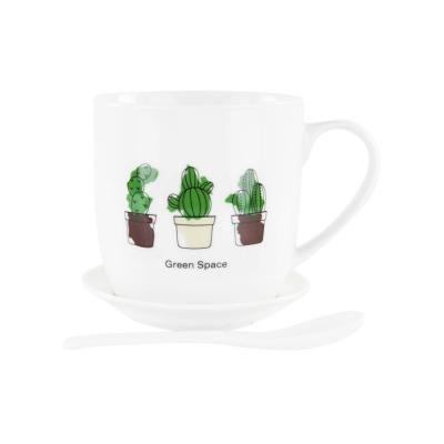 Bögre tányérral és kanállal, 3 kaktusszal - CACTUS FAMILY