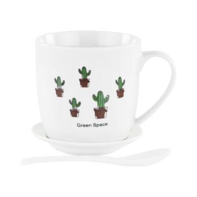 Bögre tányérral és kanállal, 5 kaktusszal - CACTUS FAMILY