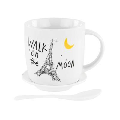 Bögre tányérral és kanállal, Eiffel torony- PARIS