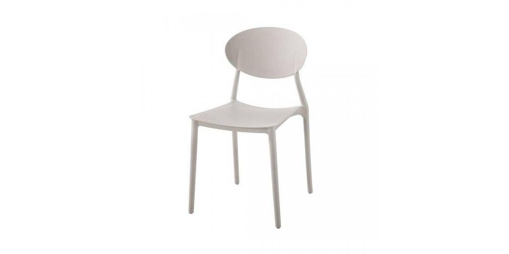 Műanyag rakásolható szék, törtfehér - COMPASS