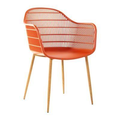 Modern műanyag karfás szék, terrakotta - FRACTION