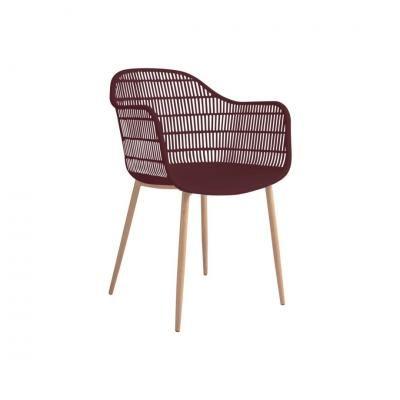 Modern műanyag karfás szék, bordó - FRACTION