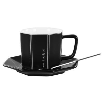 Kerámia nyolcszög formájú bögre tányérral és kanállal, fekete - ORIGAMI