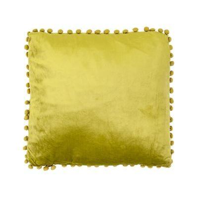 Bársony pomponos párna, olívazöld - POMPONETTE