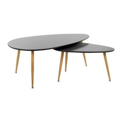 Asztalka szett, 2 db, fekete - STONE