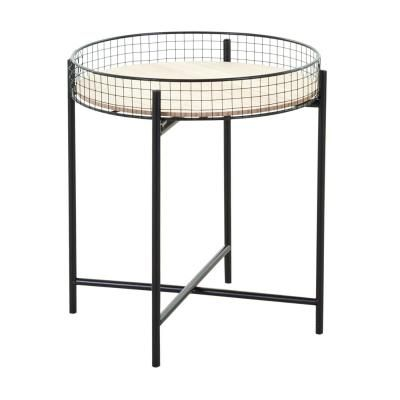 Kerek asztalka, fém lábbal, levehető asztallappal, fekete-fa - DAKKAR