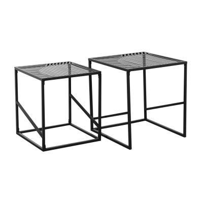 Asztalka szett, fém vázzal, vonal mintával, fekete - CUBISME