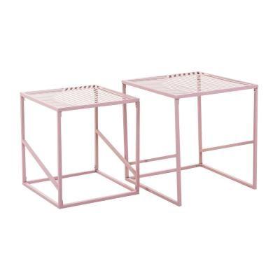 Asztalka szett, fém vázzal, vonal mintával, rózsaszín - CUBISME
