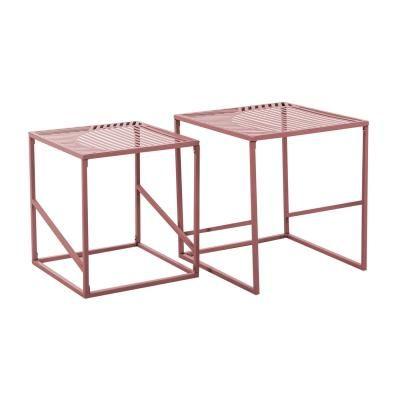 Asztalka szett, fém vázzal, vonal mintával, réz - CUBISME