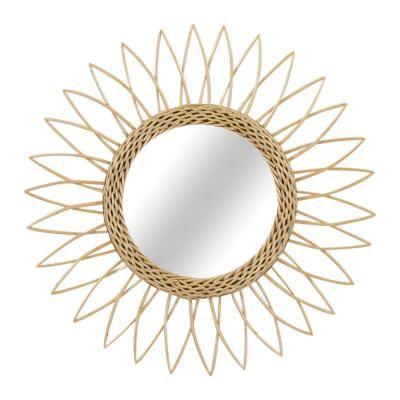 Virág formájú rattan tükör, 50 cm, natúr - SUN