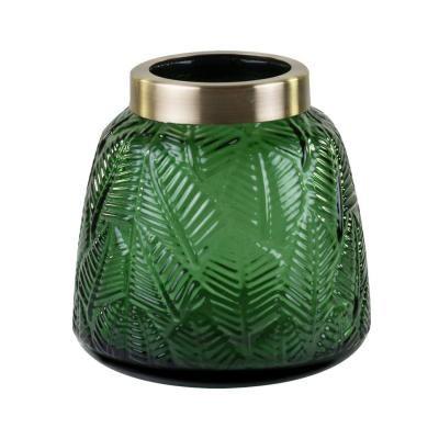 Üveg váza, leveles mintával, arany peremmel, zöld - BOTANIC