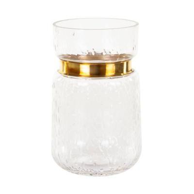 Üveg váza, arany díszítéssel, átlátszó - LILY