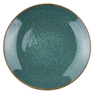 Mintás kerámia tányér, aranysárga peremmel, 27,5 cm, türkiz - VENUS