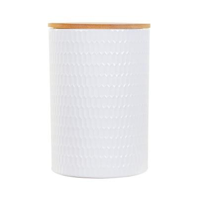 Kerámia tároló edény, fa tetővel, fehér - SFAX