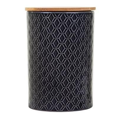 Kerámia tároló edény, fa tetővel, fekete - SFAX