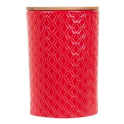 Kerámia tároló edény, fa tetővel, piros - SFAX