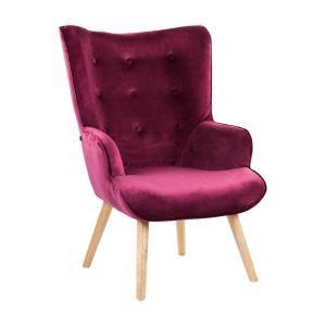 Modern bársony fotel, burgundi - KIERSTEN